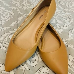 Tan faux leather flats - size 7.5